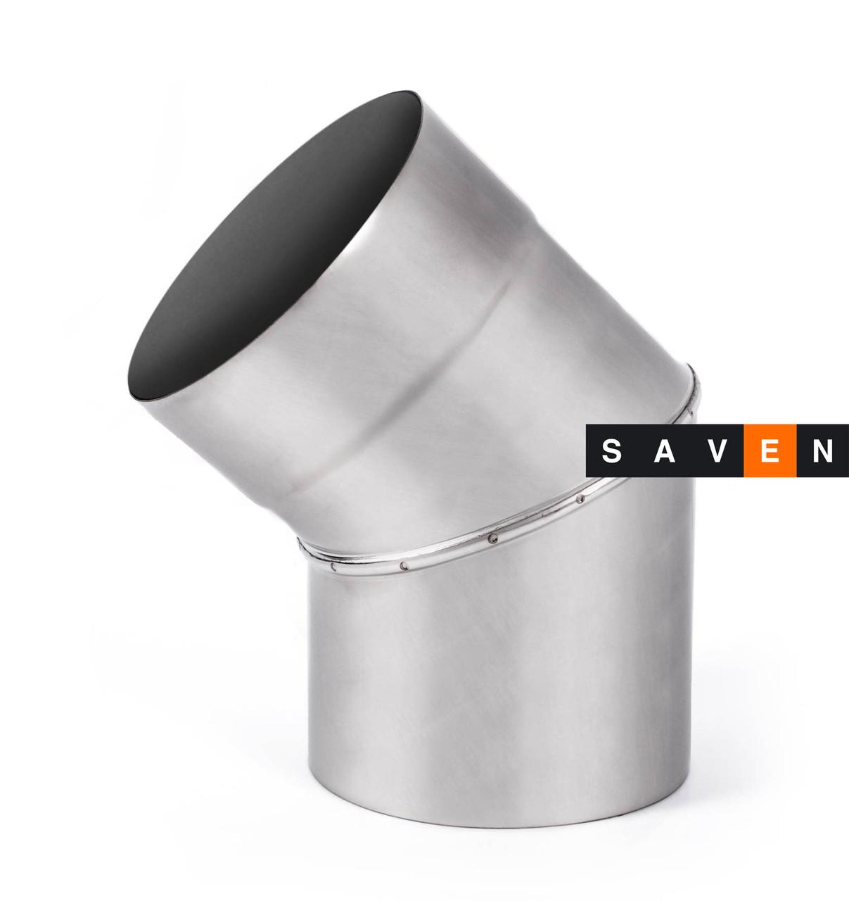 Колено для дымохода с нержавеющей стали одностенное 45°, 130, 0.8 мм, AISI 321