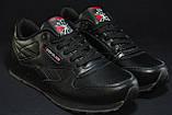 Підліткові шкіряні чорні кросівки Reebok Classic Black 36 розмір, фото 3