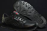 Підліткові шкіряні чорні кросівки Reebok Classic Black 36 розмір, фото 2