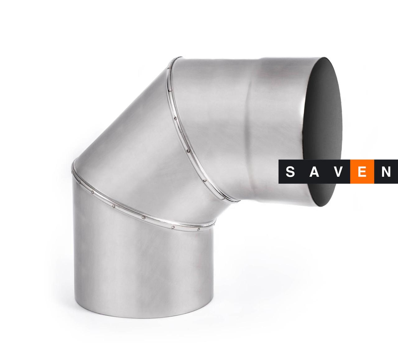 Колено для дымохода с нержавеющей стали одностенное 90°, 120, 1 мм, AISI 321