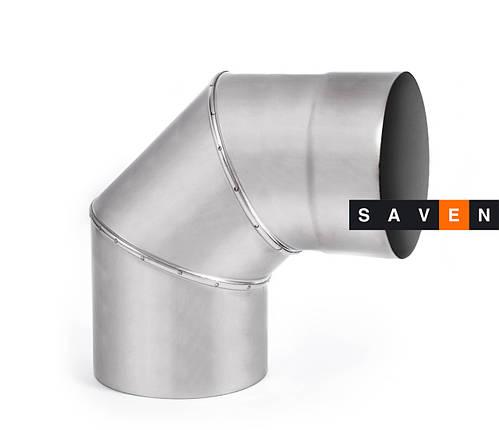 Колено для дымохода с нержавеющей стали одностенное 90°, 120, 1 мм, AISI 321, фото 2