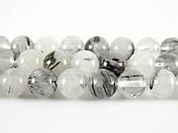 Кварц Волосатик, Натуральный камень, На нитях, бусины 8 мм, Шар, Отверстие 1 мм, количество: 47-48 шт/нить
