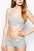 Акция! Комплект нижнего белья Calvin Klein топ и шортики серый