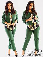 Роскошный женский костюм-тройка, блуза в цветочный принт, однотонные брюки и пиджак.