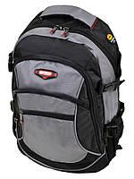 Серый рюкзак из нейлона с плотной спинкой 9617 grey школьный спортивный