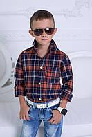 """Рубашка для мальчика """"Клетка"""" с длинным рукавом 922 ЕВ"""