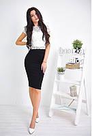 Женский костюм: белый кружевной топ и юбка-карандаш