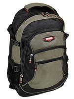 Черно-зеленый рюкзак из нейлона с плотной спинкой 9617 green школьный спортивный
