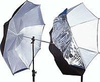 Фото-зонт 2 в 1 - черно-серебряный на отражение + белый Arsenal 110 см