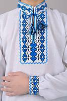 """032018 - Детская сорочка-вышиванка для мальчика """"Козачок"""" (синий орнамент)"""