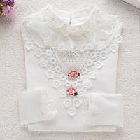 Белая нарядная кофта стойка воротник для девочки