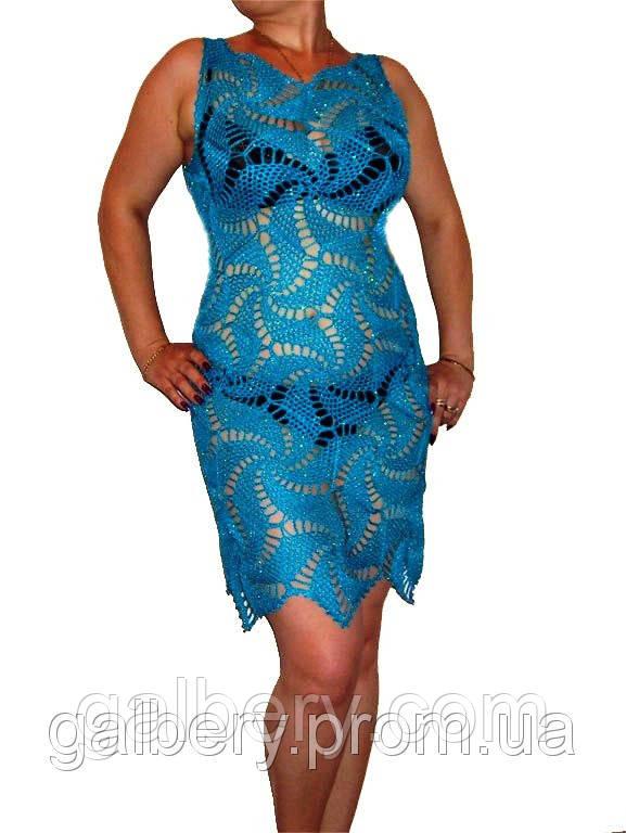 вязаное платье ручной работы с ажурными принтами паук бирюзового