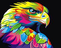 Картина раскраска по номерам без коробки Радужный орел (BK-GEX5329) 40 х 50 см