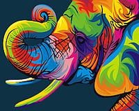 Картина по номерам без коробки Радужный слон (BK-GEX5330) 40 х 50 см (Без коробки)