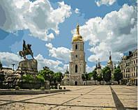 Раскраска на холсте без коробки Памятник Богдану Хмельницкому (Киев) (BK-GX4868) 40 х 50 см