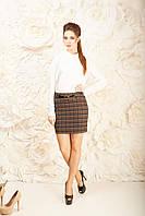 Коричневая модная юбка женская офисная Злата Размер 42-48