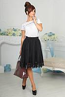 """Нарядная комбинированная женская юбка """"Tafira"""" с кружевом"""