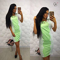 Женское платье из мемори - коттона + гипюр фисташка