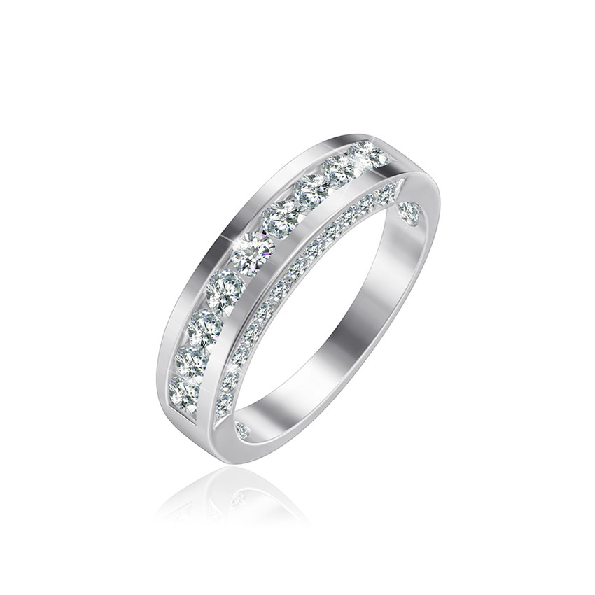 "Серебряное родированное кольцо ""381"""