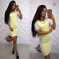 Женское платье из мемори - коттона + гипюр желтое.
