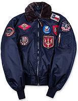 Бомбер Top Gun Official B-15 Men's Flight Bomber Jacket With Patches TGJ1542P (Navy)