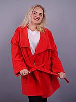 Софи. Женское пальто больших размеров. Красный.