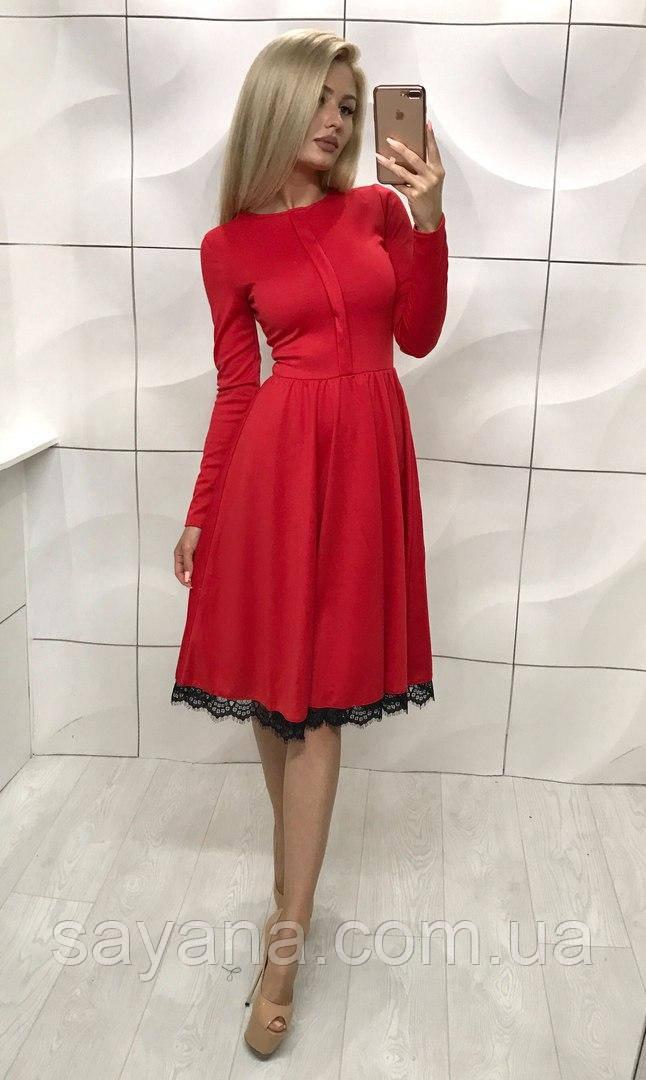 Женское симпатичное платье с кружевом, 2 цвета. ЮЛ-5-0817