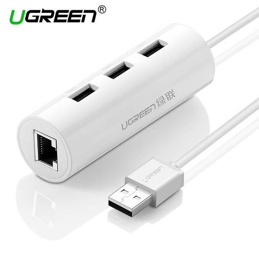 Ugreen Ethernet RJ-45 + USB 2.0 хаб на 3 порта