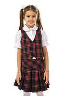 Демисезонная школьная юбка 17-196 в клетку на девочку 9 лет (р. 134!, красная  клетка на синем) ТМ Kids Couture