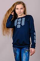 032020 - Детский трикотажный свитшот-вышиванка для девочек (темно-синий)