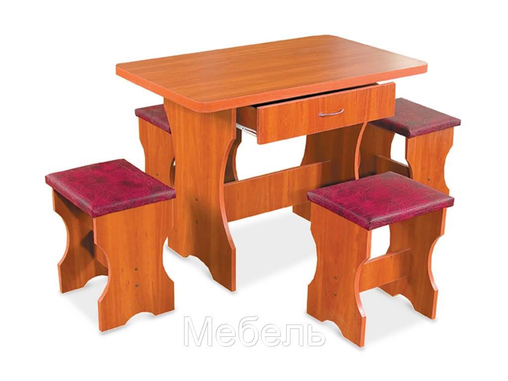Обеденный комплект Омега Mobili&Vetro стол + 4 табуретки