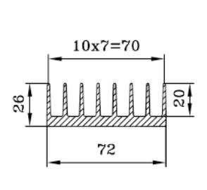 Радиатор алюминиевый 72х26 30 см.