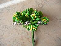 Добавка тычинка зеленая комбинированная с круглым листом