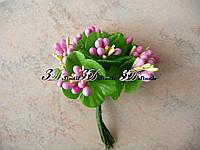 Добавка тычинка розовая комбинированная с круглым листом