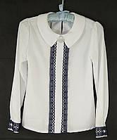 Белая блуза школьная с синими рюшами