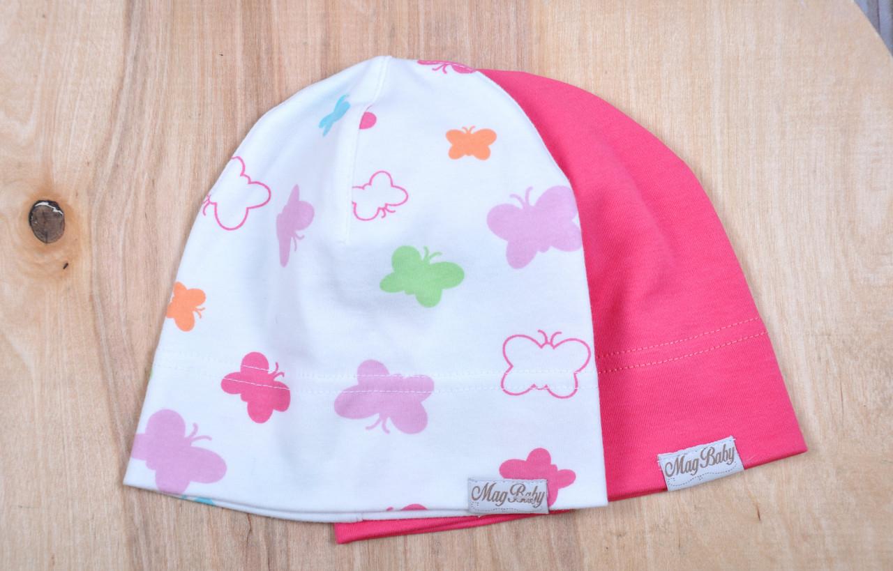 Набор трикотажных шапок, Бабочки,50-54 см