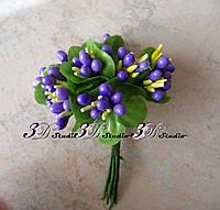 Добавка тычинка фиолетовая комбинированная с круглым листом