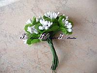 Добавка тычинка белая комбинированная с круглым листом