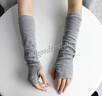 Митенки длинные перчатки без пальцев серые