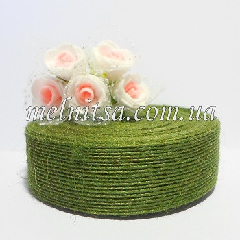 Лента из мешковины с леской, 2,5 см, цвет хаки, 1 м