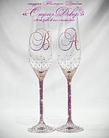 Свадебные бокалы с инициалами в розовых и золотистых хамелеонах (Тюльпаны), фото 1