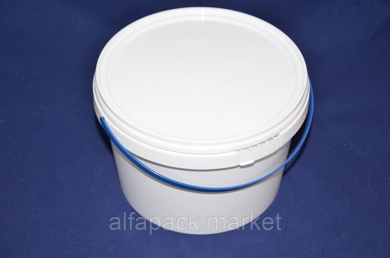 Ведро 2,3 л. пластиковое для пищевых продуктов, белое