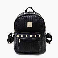 Рюкзак мини молодежный плетеный с заклепками (черный)