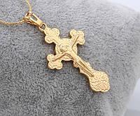 Кулон Крест Позолота 18к с распятием (без цепочки)  Высота 4,7см