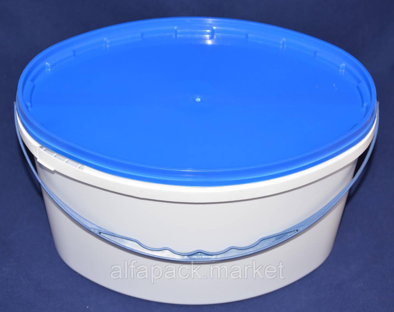 Ведро 5,6 л(овал) пластиковое для пищевых продуктов, белое