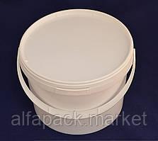 Ведро 3 л. пластиковое для пищевых продуктов, белое 020000041
