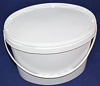 Ведро пластиковое пищевое овальное белое 11 л.с крышкой