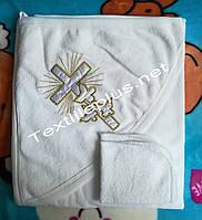 Крестильное полотенце + слюнявчик махра с золотом Турция