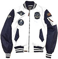 Оригинальный бомбер Top Gun MA-1 Color Block Bomber Jacket TGJ1649 (White/Navy), фото 1