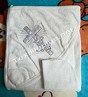 Крестильное полотенце + слюнявчик махра с серебром Турция